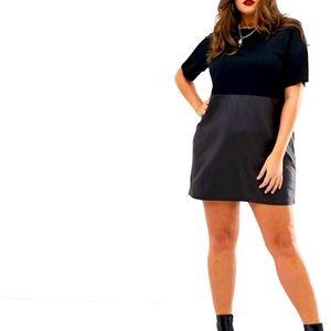 ASOS DESIGN Curve faux leather mix shift dress NWT